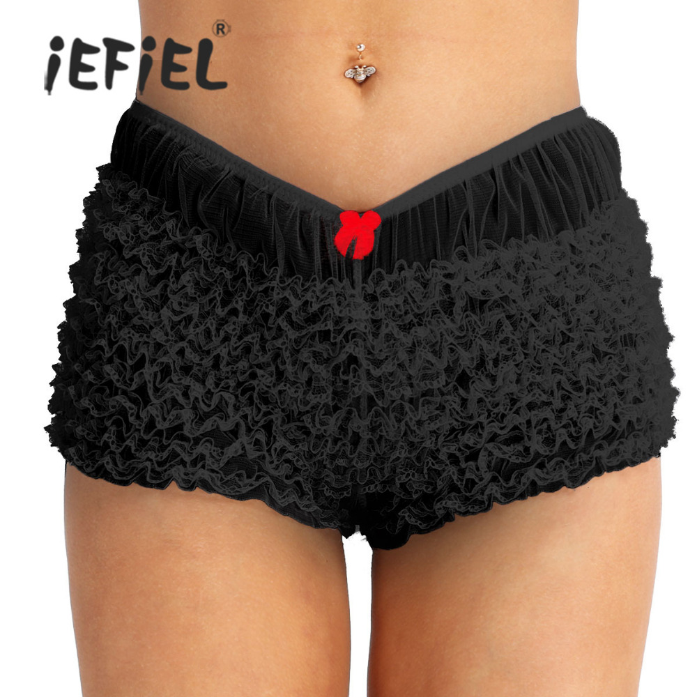 iEFiEL Womens Cotton Soft Fashion Sexy Underwear Underpants Tulle Ruffled Lace Sexy Nightwear Bloomers Knickers Panties