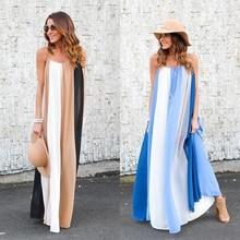 Summer Beach Dresses Women Sexy Spaghetti Strap Striped Maxi Sundress Sleeveless Boho Casual Swing Chiffon Long Dress
