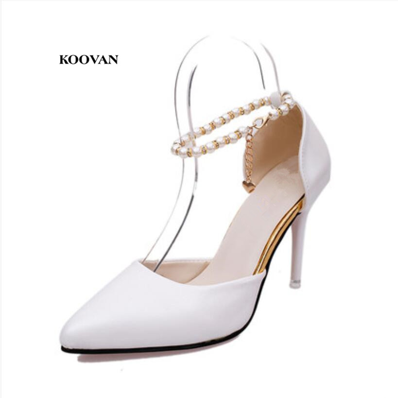 Koovan Women Pumps 2017 Pointed High Heeled Shoes Pink Pearls Wild Night Clubs Single Buckle Women's Sandals Ladies Summer koovan women pumps 2017 spring new shallow mouth pointed shoes heel pearl buckle with high heeled ladies shoes