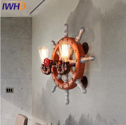 IWHD Wooden Rudder LED Wall Lamp Iron Retro Industrial Vintage Loft Wall Lights Fixtures For Home Lighting Cafe Bar Living Room black color pipe retro loft vintage iron shade wall lamp sconces industrial home lighting fixture for living room free shipping