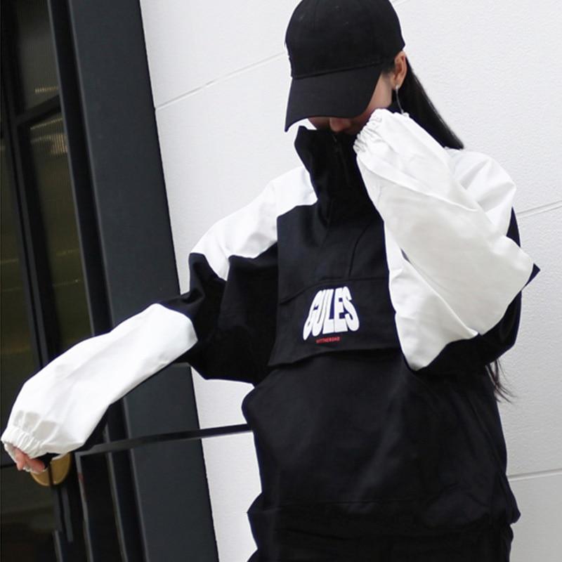 Hop Roulé Taille Bf Unisexe blanc Femelle Mode Manteau Les Pour Harajuku Veste Plus Streetwear La De Noir Patchwork Hip Amateurs Col Lâche zqAAtSx0w