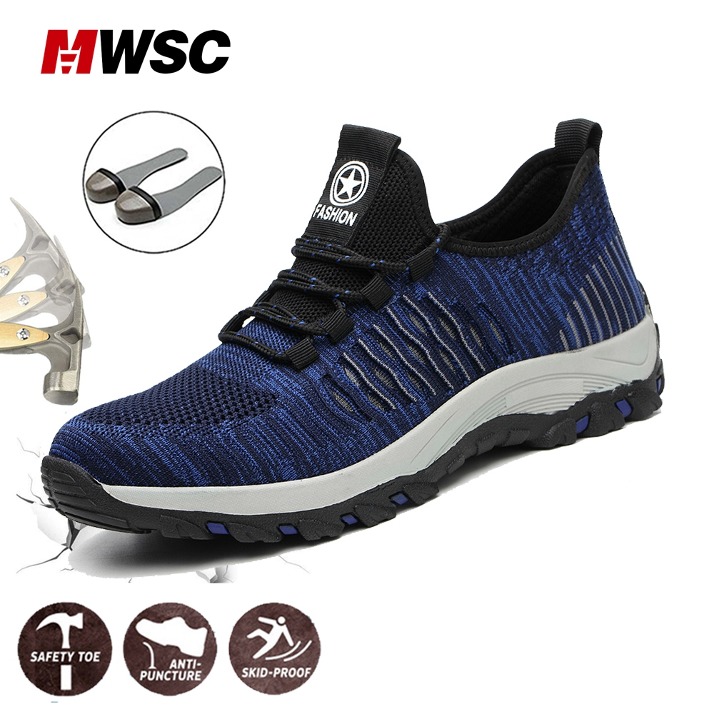 MWSC Man Safety Shoes Steel Toe Work Shoes For Men Anti-smashing Breathable Safety Sneaker Male Shoes High Quality Size 36-46