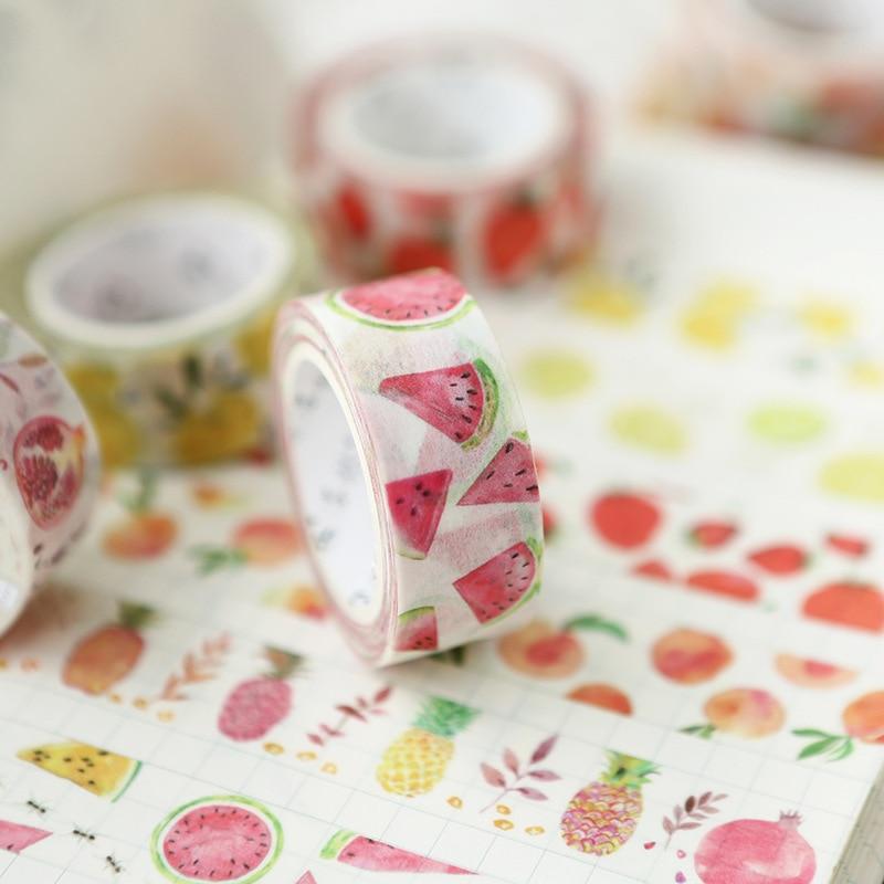 Fresh Fruits Theme Masking Washi Tape 15mm X 7m Decorative Adhesive Tape Decora Diy Scrapbooking Sticker Label Stationery