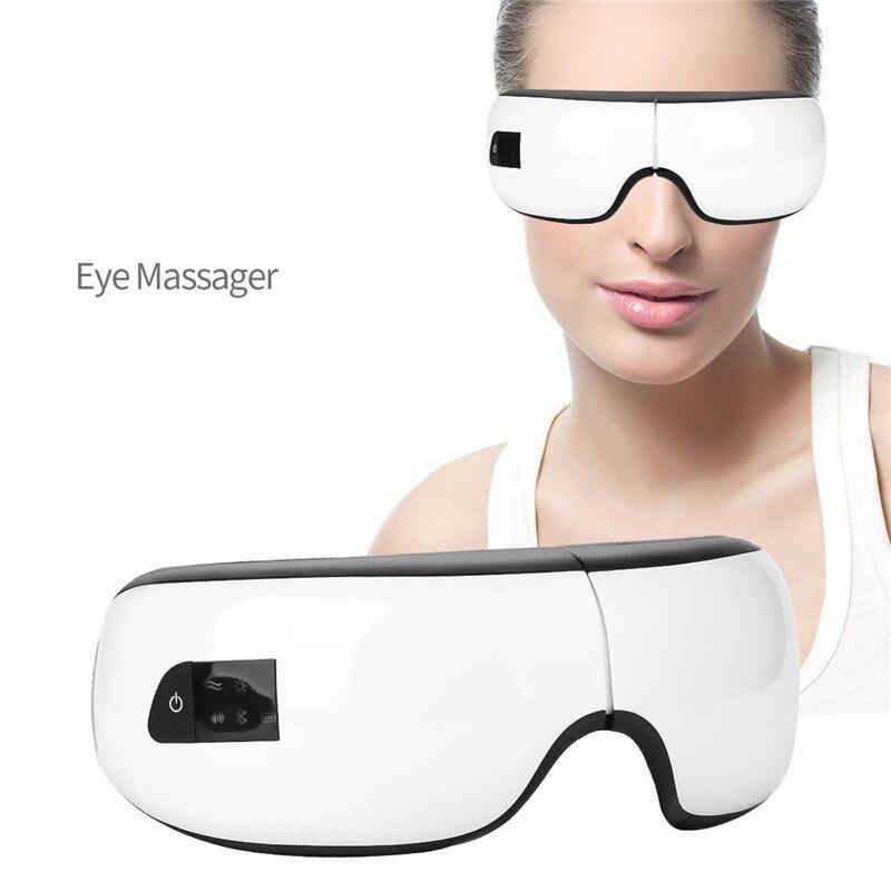 USB Rechargeable lunettes masque chaud compresse yeux masseur Anti Fatigue tête soulagement du Stress Protection de la vue cernes enlèvement