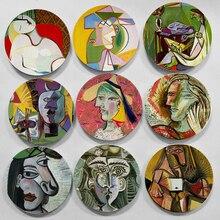 Пикассо, масляная абстрактная живопись, тарелки, настенные декоративные подвесные тарелки, Сервировочные подносы, домашние декоративные художественные керамические тарелки, дисплей