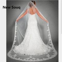 Lace Edge Long Wedding Veil Cathedral Lengh White Ivory Bridal Veil Wedding Accessories velo novia