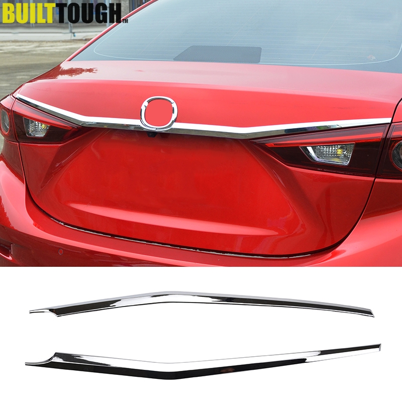 For Mazda 3 Axela Sedan 4dr 2014 2015 2016 2017 2018 Chrome Rear Trunk Lid Cover Tailgate Door Handle Trim Garnish Molding Strip(China)