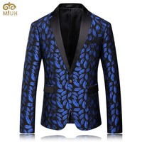 MIUK 2016 Mens Royal Blue Printed Blazer Pattern Slim Fitted Prom Blazers Men One Button Suit