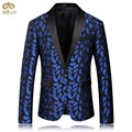 MIUK 2017 Mens Royal Blue Printed Blazer Pattern Slim Fitted Prom Blazers Men One Button Suit Jacket Stage Costumes For Singers