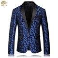 Miuk 2017 mens azul patrón impreso blazer delgado equipada Blazers Hombres Un Botón Traje Chaqueta Trajes de la Etapa de baile Para cantantes