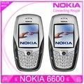Restaurado original nokia 6600 teléfono móvil bluetooth cámara gsm desbloqueado tribanda blanco y un año de garantía