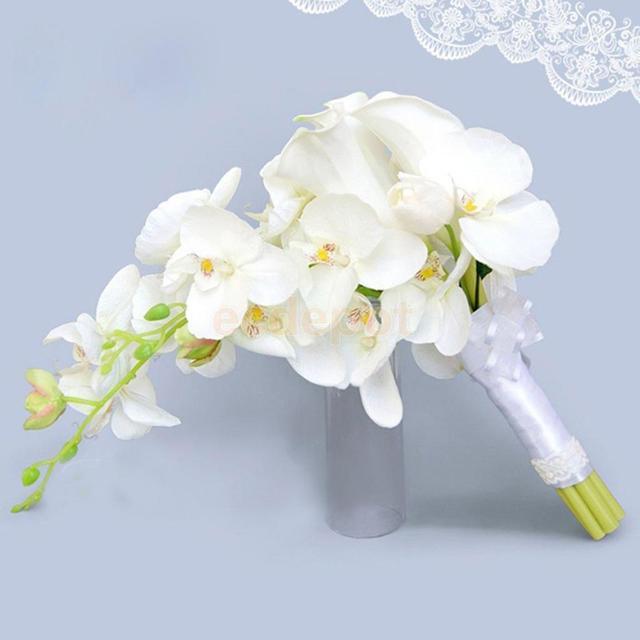Bouquet Da Sposa Orchidee.Us 26 58 22 Di Sconto Cascade Waterdrop Bouquet Da Sposa Festa Nuziale Fiore Di Seta Artificiale Calli Giglio Orchidee Legato A Mano Fiore In