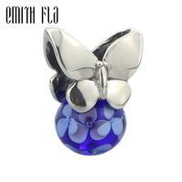 925 Sterling Silver Summer Butterfly Charm Beads DIY Fit for European Troll Bracelet & Necklace Vintage Murano Glass Beads