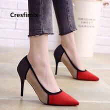 Cresfimix tacones altos sexy mujer women cool multi color spike high heel