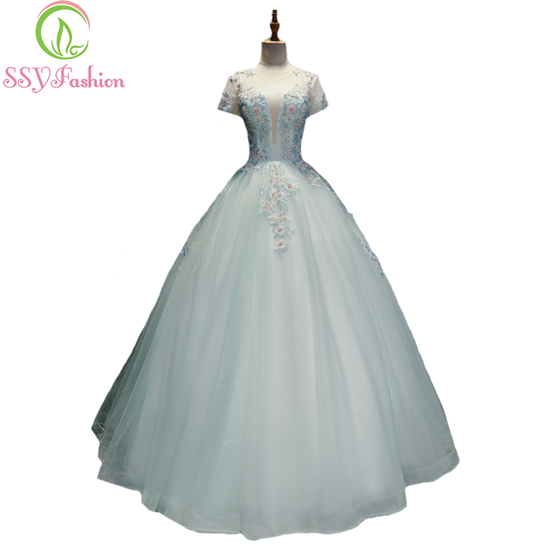 SSYFashion New Sweet Fresh Light Blue Lace Flower Prom Dress The ...