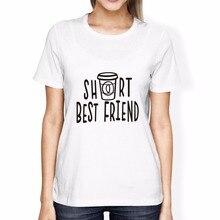 SexeMara Women Cute Best Friend Tall and Short Matching Letter T-Shirt BFF  Shirt Lovers 43229e73ca0d