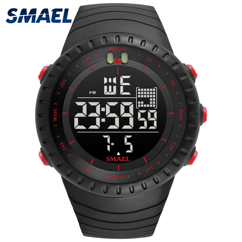 SMAEL Alarme Marca Men Sport Watch Top Marca De Luxo 50 Metros Parar de Nadar e Correr à prova d' água Assistir 1237 Relógio Digital Led Relógios