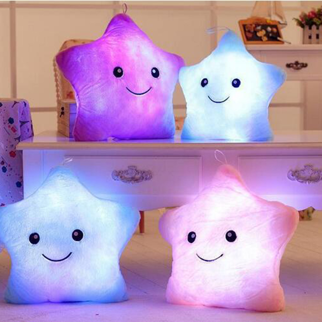 HOt Sale Colorful Body Pillow Star Glow LED Luminous Light Pillow Cushion Soft Relax Gift