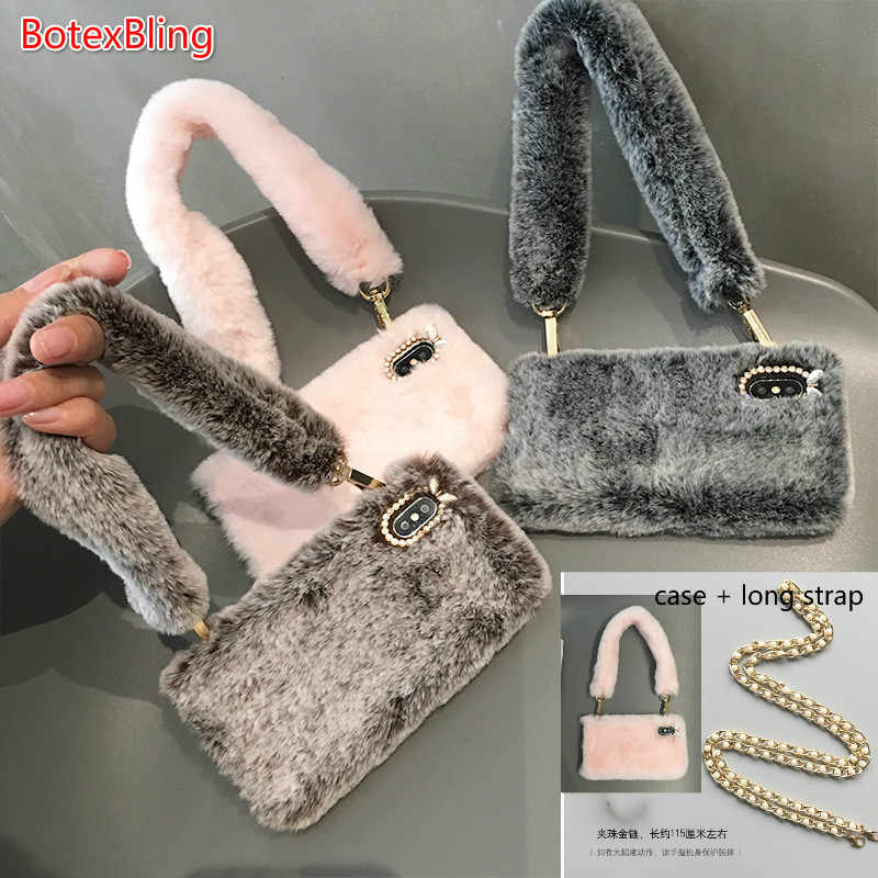 For iphone XS MAX warm case luxury plush fluffy crossbody chain phone bag  for iphone X 7f8cdaac1964