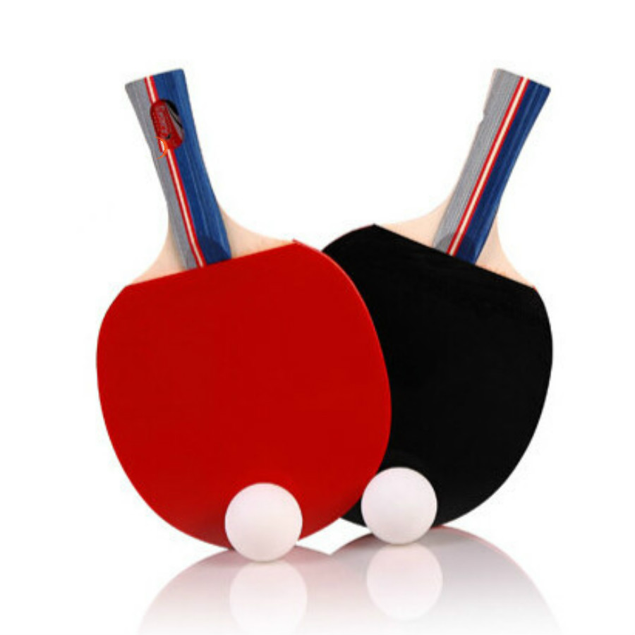 2 Pieces/Set Table Tennis Rackets Ping Pong Paddle Long/Short Handle Double Face Pimples-in Table Tennis Racket Rubber Balls Bag