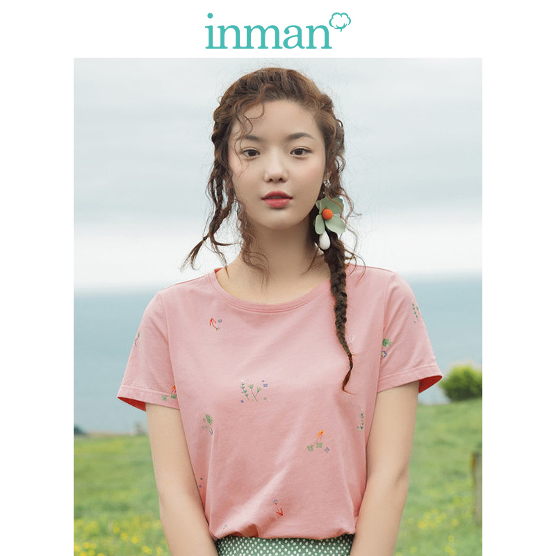 INMAN 2019 Summer New Round Collar Pure Cotton Art Small Fresh Floral Print 100 Short Sleeves T-shirt Women's