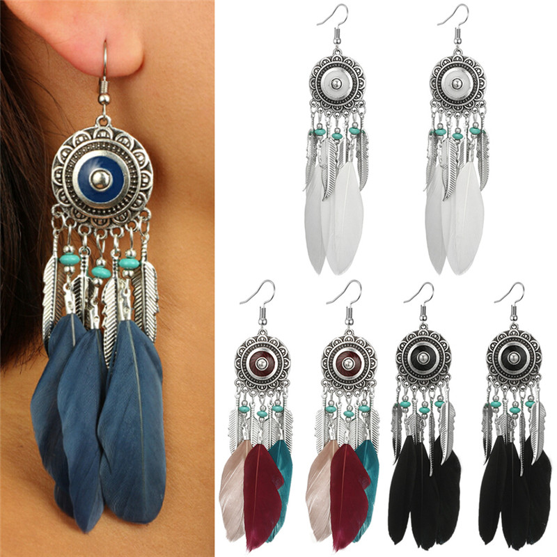 2019 New Bohemia Feather Tassel Earrings For Women India Style Feather Charm Dangle Earrings Ethnic Tribal Hippie Jewelry Gift