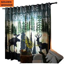 European Style Modern Simple Customized Living Room Bedroom Curtain Children Boys Shading Cotton Drapes Deer Printing