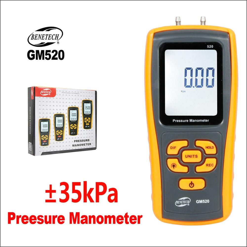 BENETECH Pressure Gauge Manometer Digital Handheld Tyre Pressure Differential Tester USB GM520 Manometer Pressure Manometer