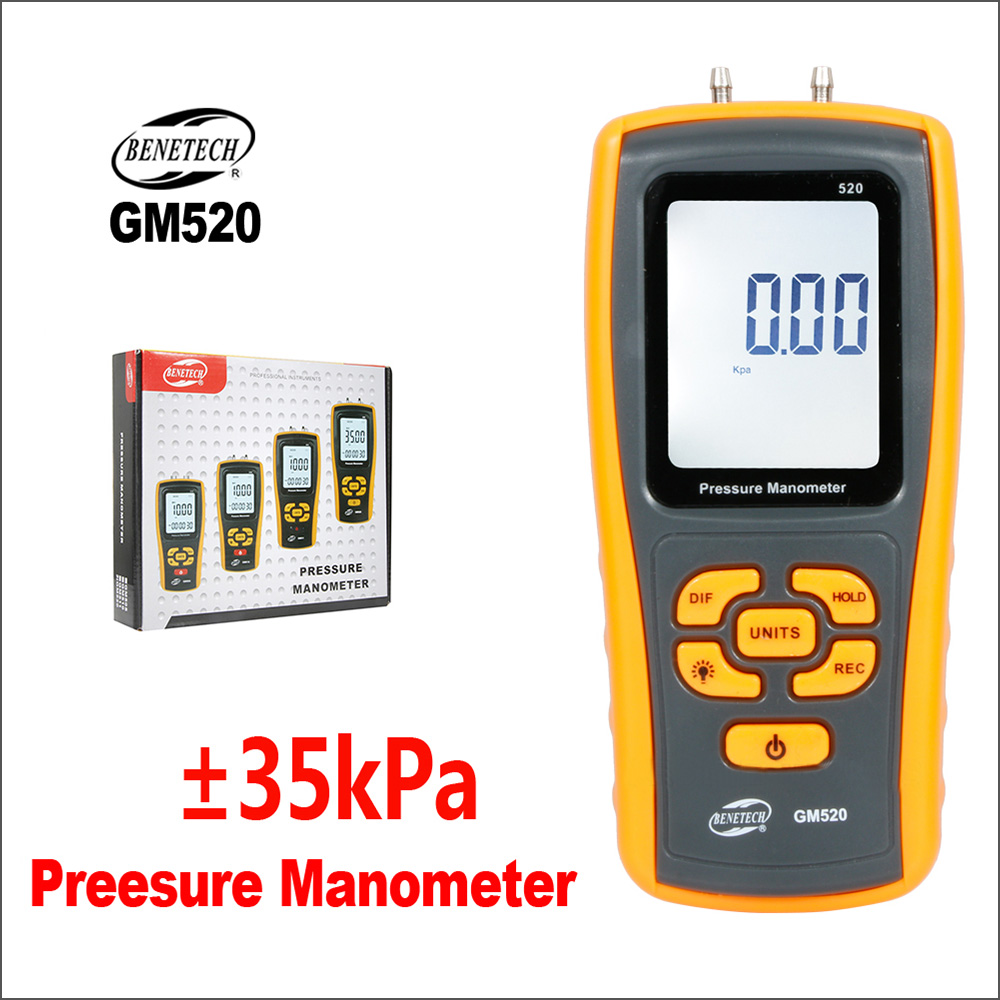 BENETECH Pressure Gauge Manometer Digital Handheld Tyre Pressure Differential Tester USB GM520 Manometer Pressure Manometer