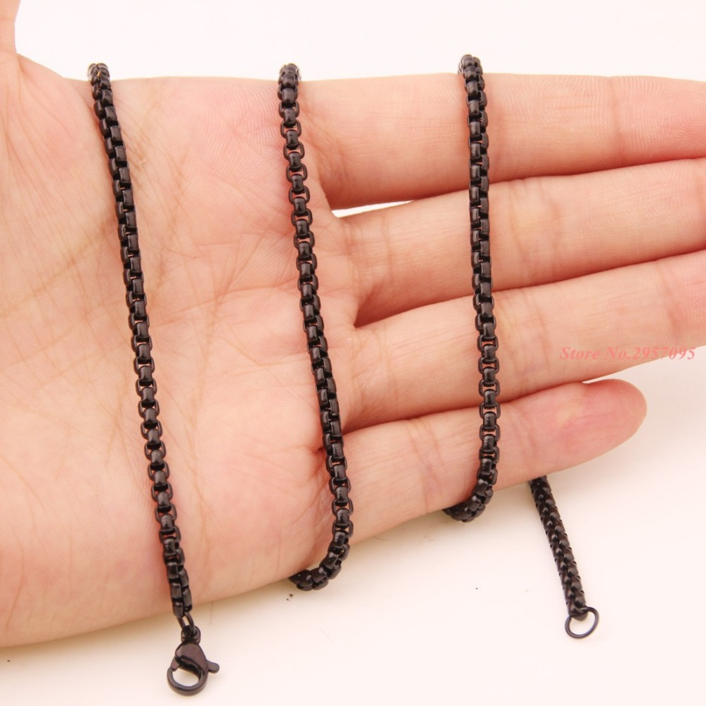 3mm Mens Black Stone Stainless Steel Rolo Chain Necklaces 16/40inch High Polish Quality Long Chain Jewelry