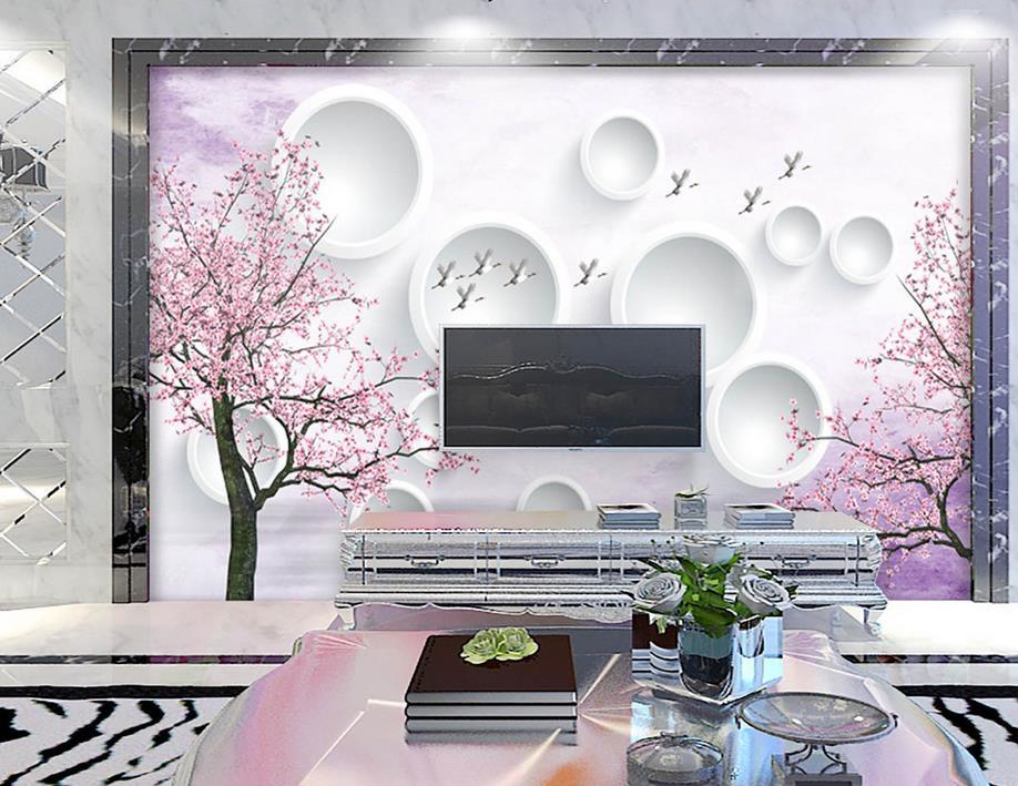 custom 3d stereoscopic Cherry blossoms wallpaper for walls 3 d photo mural wallpaper for living room custom baby wallpaper snow white and the seven dwarfs bedroom for the children s room mural backdrop stereoscopic 3d