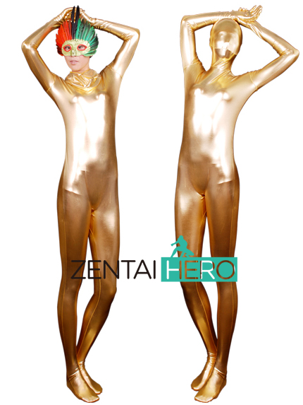 Free Shipping Fashion Sexy Woman Party Costume Shiny Full Bodysuit Gold Metallic Zentai Events Costume T04 Plus Size