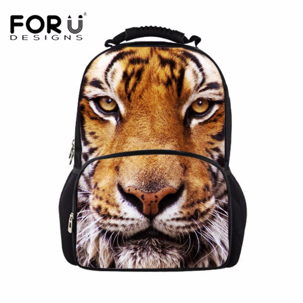 FORUDESIGNS 3D Animal Tiger Printing Mens Backpack for Boys Cool School Bagpack Males Fashion Large Laptop Felt Back Pack Bolsa