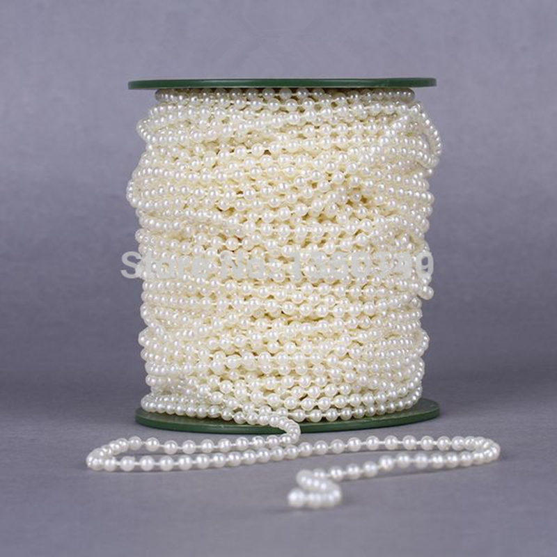 8mm 20m/roll Pearl String Beads ABS Plastic Faux Pearl Strands Crimp Bead Romantic Wedding Party Garland Decoration