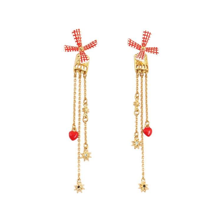Français Bijoux À La Mode Nouvelle main-peint émail glaçure tournant le moulin à vent rouge coeur de baisse cuisse femmes boucles d'oreilles