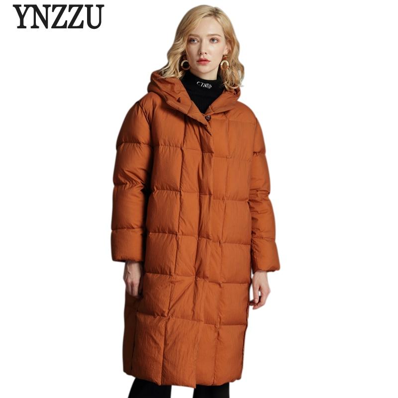 Brand Elegant 2018 Winter Jackets Women Fluffy Duck   Down     Coat   Women Vintage Long Warm Hooded Loose Snow Outwear Plus Size AO761