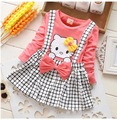 2015 autumn winter cute cartoon cat pattern faux 2pcs baby girls tutu dress long sleeve plaid Strap dress for newborn clothes