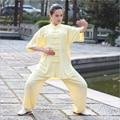 2019 Summer cotton uniforms wushu clothing suits Tai Chi women Chinese Kung Fu short sleeve wear set coat+pants plus size
