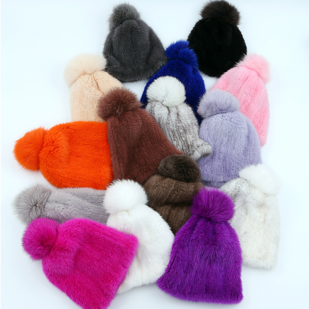 100% real mink fur hat women winter knitted mink fur   beanies   cap with fox fur pom poms 2017 brand new thick female cap Elastic