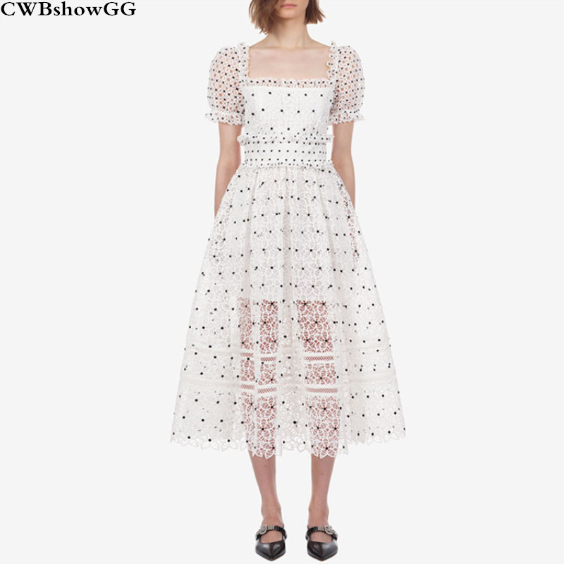 CWBshowGG Runway Puff Sleeve Lace Dot Square Neck Hollow Out Lace Ladies Vintage Short Sleeve Embroidery