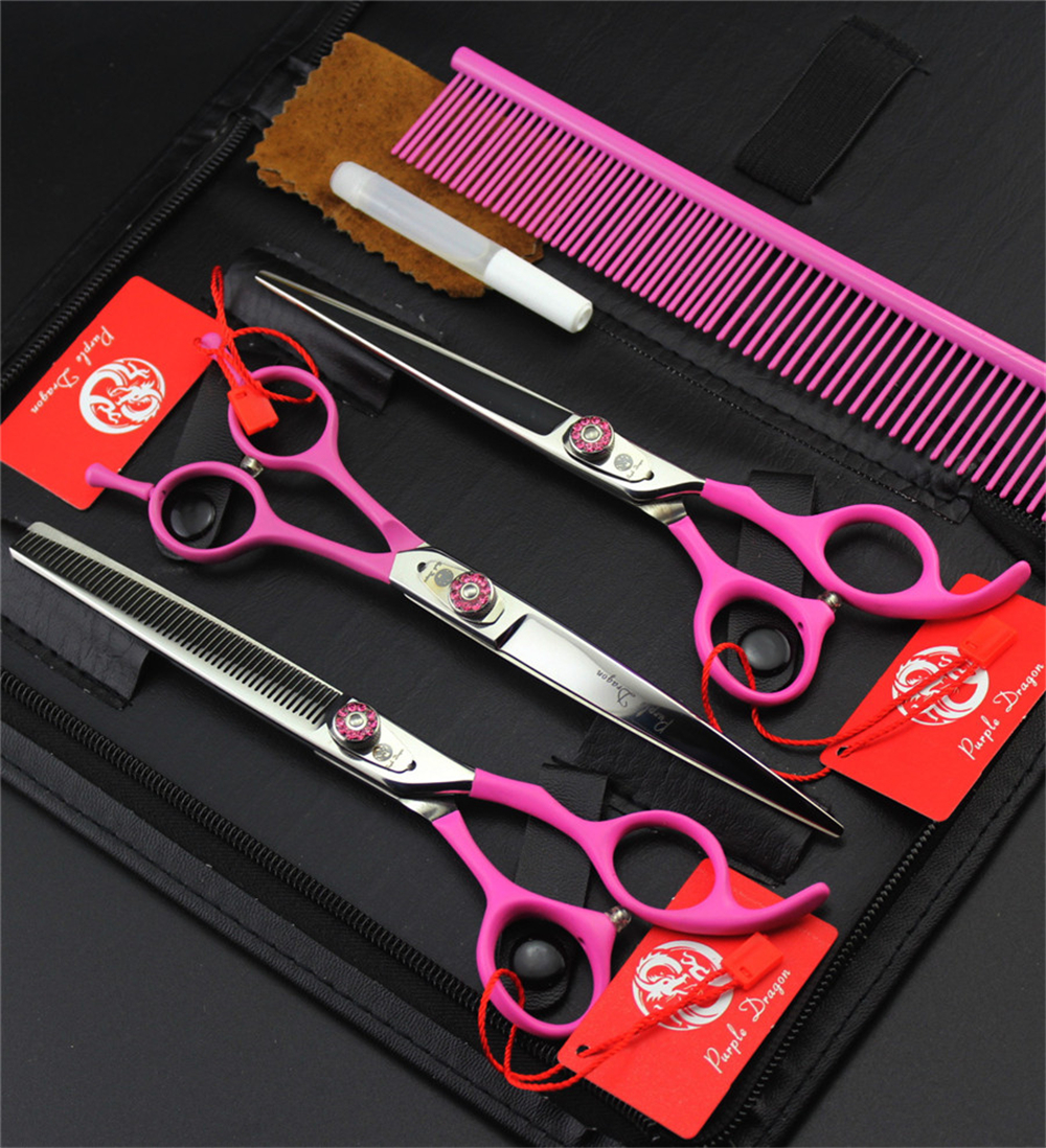 Top Quality 7 0 Pet Scissors Set Cutting Thinning Curved Scissors JP440C Professional Pets Dog Grooming