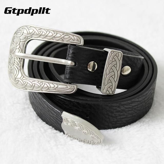 Gtpdpllt Vintage faux cuir métal tête fermoir femmes ceinture Boucle  réglable noir ceinture Nouvelle mode filles a93f7e943da