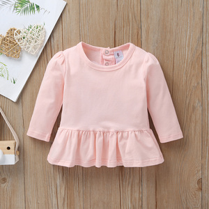 Image 3 - baby girl autumn outfit pink T shirt dress+romper+pants long sleeve set newborn 2020 clothes new born swan babies clothing