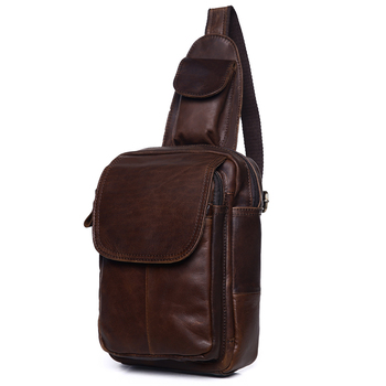 Men's Chest Bag Genuine Leather Crossbody Bag For Man Phone Case Mutifuntion Pack Messenger Bag Crossbody Travel Poket фото