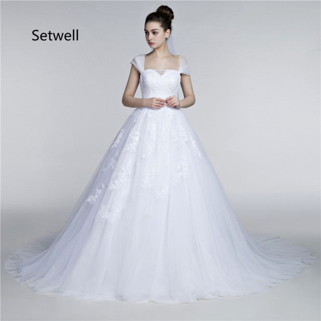 Setwell Newest White Applique Lace Wedding Dress Long Train Ball Gown Dresses Square Neckline Backless Gowns
