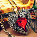 N102 Angel Wing Pendant Necklaces Red Crystal Heart Long Chain Sweater Necklace Women Jewelry 2017 Accessories