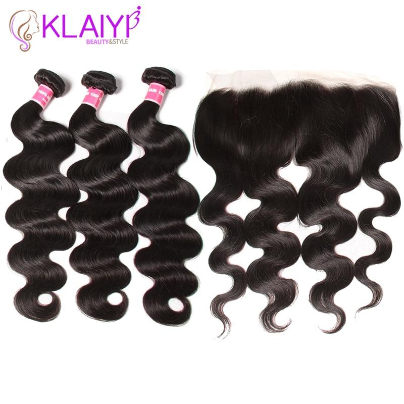 KLAIYI ヘア 13x4 バンドルブラジルのレースフロント毛織りバンドルとクロージャ本体波バンドル付フロンタルの Remy 毛  グループ上の ヘアエクステンション & ウィッグ からの 3/4 バンドル留め具付き の中 1
