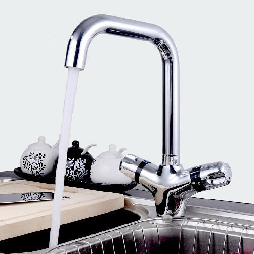 Dual handle thermostatic kitchen mixer sink thermostatic faucet sink mixer tap bathroom thermostatic faucet tap