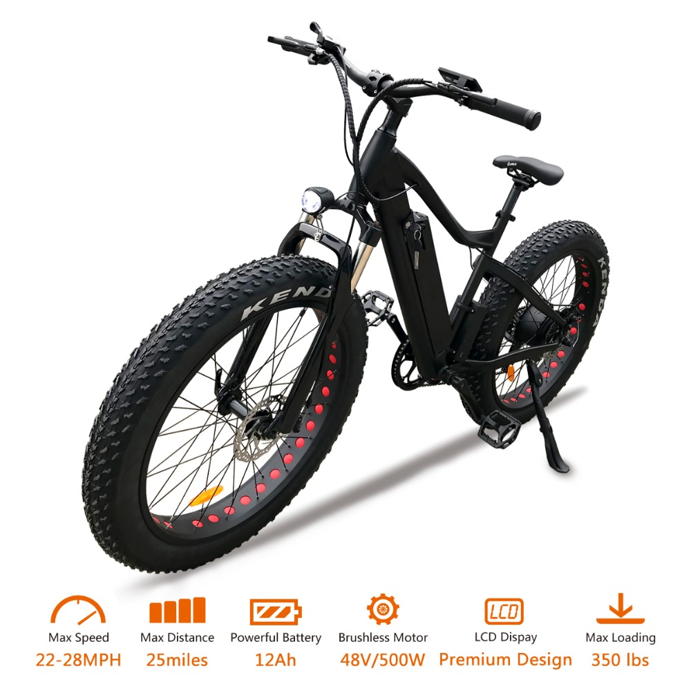 VTUVIA E-bike 48V 500W brushless motor Electric bicycle 7 Speed 26inch Fat tire Mountain Snow Electric bike with Li-ion battery