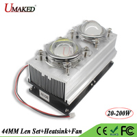 LED Heat sink with Fan Cooler+44MM Lens 60 90 120 Degree+Reflactor+Bracket Holder Aluminum Radiator For 20W 200W Grow lights DIY